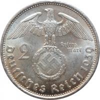 """Германия - Третий рейх 2 рейхсмарки 1939 г. B, UNC, """"Нацистская Германия (1933 - 1945)"""""""