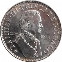 """Монако 50 франков 1974 г., UNC, """"25 лет правления Ренье III"""""""