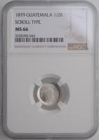 "Гватемала 1/2 реала 1879 г., NGC MS66, ""Реал (1838 - 1912)"""