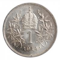 "Австрия 1 крона 1914 г., BU, ""Император Франц Иосиф (1848 - 1916)"""