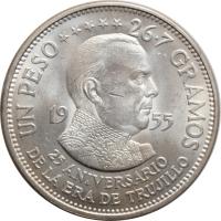 """Доминикана 1 песо 1955 г., UNC, """"25 лет правлению Трухильо"""""""