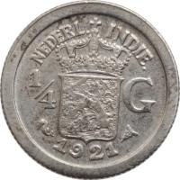 """Голландская Ост-Индия 1/4 гульдена 1921 г., XF-AU, """"Королева Вильгельмина (1890 - 1948)"""""""