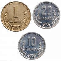 """Албания 10, 20 киндарок и 1 лек 1988 г., BU, """"Народная Республика (1945 - 1991)"""""""