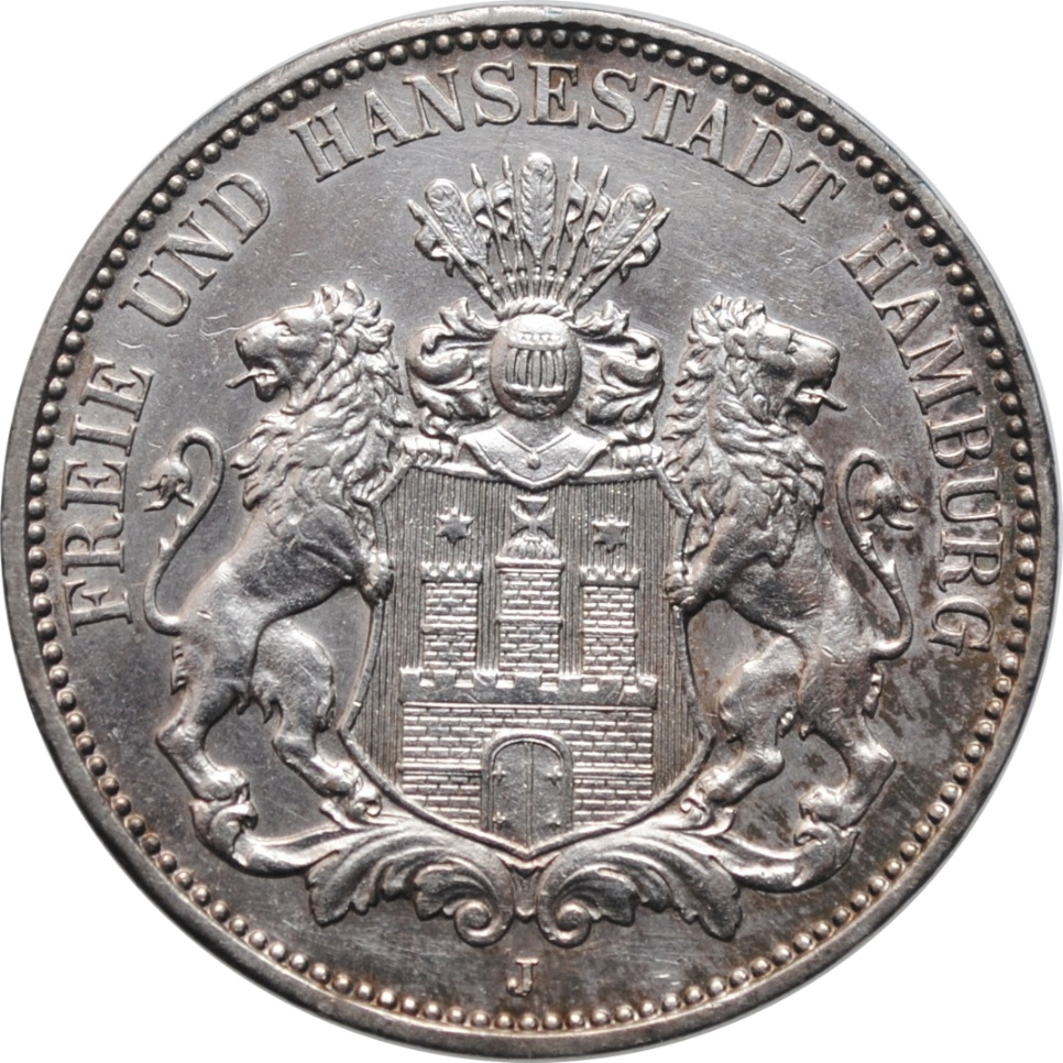 """Гамбург 3 марки 1914 г., AU, """"Вольный город Гамбург (1871 - 1918)"""""""