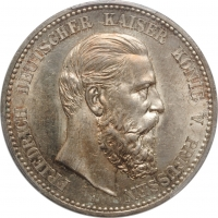 "Пруссия 5 марок 1888 г., PCGS MS62+, ""Император Фридрих III (09.03 - 15.06.1888)"""