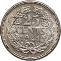"""Нидерланды 25 центов 1941 г., AU, """"Королева Вильгельмина (1890 - 1948)"""""""