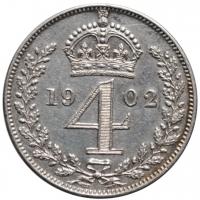 """Великобритания (Деньги Монди) 4 пенса 1902 г., AU, """"Король Эдуард VII (1902 - 1910)"""""""