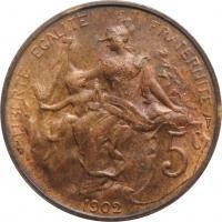 """Франция 5 сантимов 1902 г., BU, """"Третья Республика (1870 - 1941)"""""""