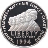 """США 1 доллар 1994 г., NGC PF69, """"Мемориал женщинам на военной службе"""""""