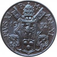 "Ватикан 5 чентезимо 1932 г., UNC, ""Папа Пий XI (1929 - 1938)"""