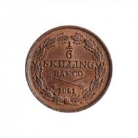 """Швеция 1/6 скиллинга 1851 г., UNC, """"Король Оскар І (1844 - 1859)"""""""