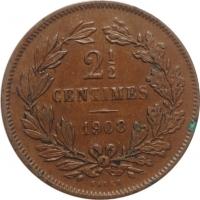 """Люксембург 2 1/2 сантима 1908 г., AU, """"Герцог Вильгельм IV (1905 - 1912)"""""""