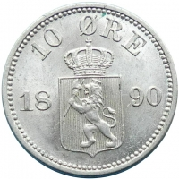 "Норвегия 10 эре 1890 г., BU, ""Король Оскар II (1874 - 1906)"""