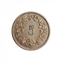"""Швейцария 5 раппенов 1873 г., UNC, """"Швейцарская Конфедерация (1850 - 1916)"""""""