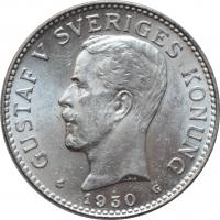 """Швеция 2 кроны 1930 г. G, BU, """"Король Густав V (1908 - 1950)"""""""