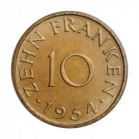 """Саар 10 франков 1954 г., BU, """"Протекторат Саар (1947 - 1956)"""""""