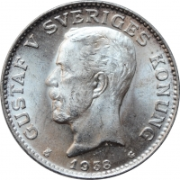 """Швеция 1 крона 1938 г. G, BU, """"Король Густав V (1908 - 1950)"""""""