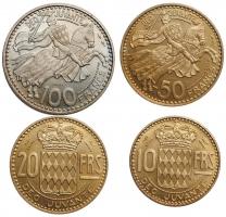 """Монако 10, 20, 50, 100 франков 1950, BU ESSAI, """"Князь Ренье III (1949 - 2005)"""""""