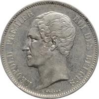 """Бельгия 5 франков 1849 г., XF, """"Король Леопольд I (1832 - 1865)"""""""
