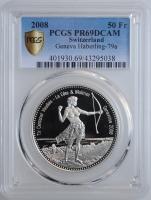 """Швейцария 50 франков 2008 г., PCGS PR69DCAM, """"Стрелковый фестиваль в Женеве"""""""