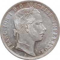 """Австрия 1 флорин 1861 г. A, UNC, """"Император Франц Иосиф (1848 - 1916)"""""""