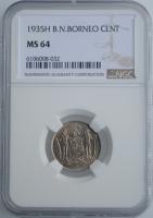 """Северное Борнео 1 цент 1935 г., NGC MS64, """"Британский протекторат (1882 - 1941)"""""""