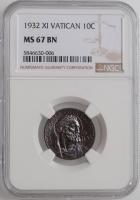 "Ватикан 10 чентезимо 1932 г., NGC MS67, ""Папа Пий XI (1929 - 1938)"""