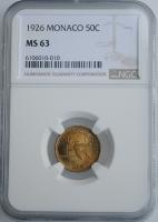 "Монако 50 сантимов 1926 г., NGC MS63, ""Принц Луи II (1922 - 1949)"""
