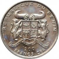 """Бенин 200 франков 1995 г., BU, """"50 лет ООН"""""""