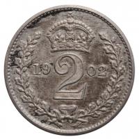 """Великобритания (Деньги Монди) 2 пенса 1902 г., AU, """"Король Эдуард VII (1902 - 1910)"""""""