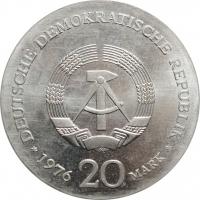 """ГДР 20 марок 1976 г., BU, """"150 лет со дня рождения Вильгельма Либкнехта"""""""