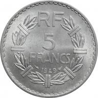 """Франция 5 франков 1949 г., BU, """"Четвертая Республика (1944 - 1959)"""""""