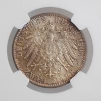 "Мекленбург-Шверин 2 марки 1904 г., NGC MS64, ""Свадьба Герцога Фридриха Франца IV"""