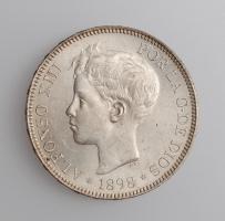 """Испания 5 песет 1898 г., UNC, """"Король Альфонсо XIII (1886 - 1931)"""""""
