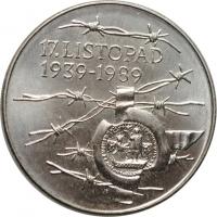 """Чехословакия 100 крон 1989 г., BU, """"50 лет событиям 17 ноября 1939"""""""