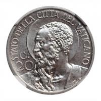 "Ватикан 20 чентезимо 1931 г., NGC MS66, ""Папа Пий XI (1929 - 1938)"""