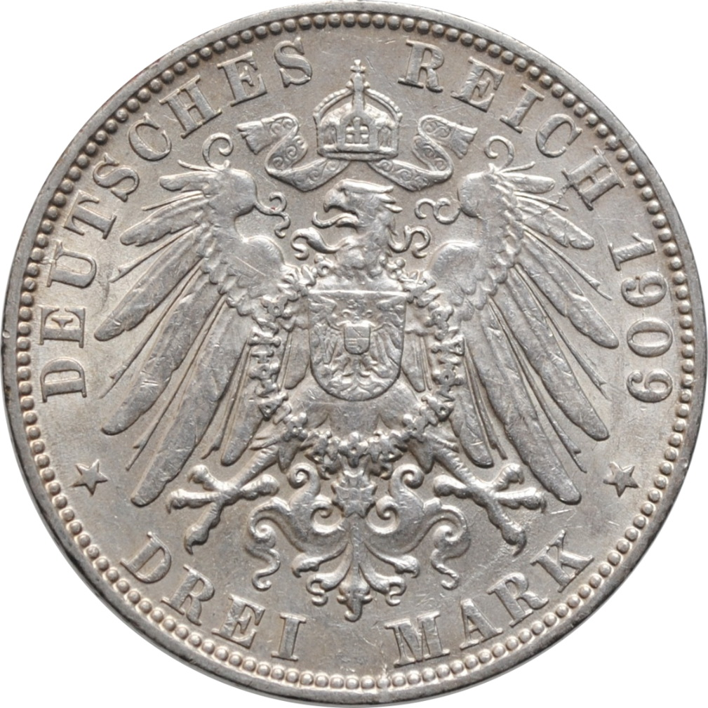 """Гамбург 3 марки 1909 г., AU, """"Вольный город Гамбург (1871 - 1918)"""""""