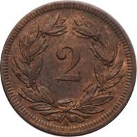 """Швейцария 2 раппена 1851 г. A, UNC, """"Швейцарская конфедерация (1850 - 1916)"""""""