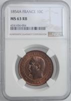 """Франция 10 сантимов 1854 г. A, NGC MS63 RB, """"Император Наполеон III (1852 - 1870)"""""""