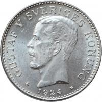 """Швеция 2 кроны 1924 г. W, BU, """"Король Густав V (1908 - 1950)"""""""