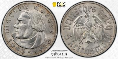 """Германия (Третий рейх) 5 рейхсмарок 1933 г. A, PCGS MS62, """"450 лет со дня рождения Мартина Лютера"""""""