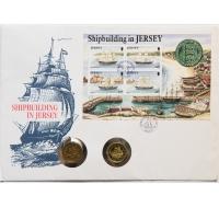 """Джерси 1 фунт 1991 и 1992 г., UNC, """"Корабли - Парусное судно """"Percy Douglas"""" и Бриг """"Hebe"""""""