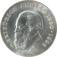 """ГДР 20 марок 1970 г., BU, """"150 лет со дня рождения Фридриха Энгельса"""""""