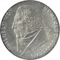 """ГДР 20 марок 1967 г., BU, """"200 лет со дня рождения Вильгельма фон Гумбольдта"""""""