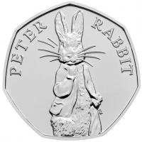 """Великобритания 50 пенсов 2019 г., BU, """"Сказки Беатрис Поттер - Кролик Питер"""""""