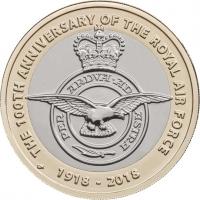 """Великобритания 2 фунта 2018 г., BU, """"100 лет Королевским ВВС"""""""