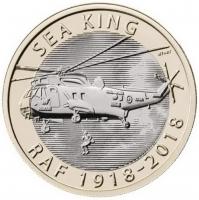 """Великобритания 2 фунта 2018 г., BU, """"100 лет Королевским ВВС - Sea King"""""""