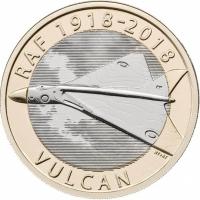 """Великобритания 2 фунта 2018 г., BU, """"100 лет Королевским ВВС - Avro Vulcan"""""""
