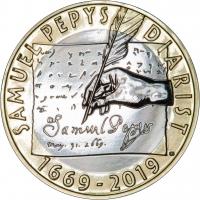 """Великобритания 2 фунта 2019 г., BU, """"350 лет дневникам Сэмюэля Пеписа"""""""