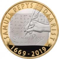 """Великобритания 2 фунта 2019 г., PROOF, """"350 лет дневникам Сэмюэля Пеписа"""""""